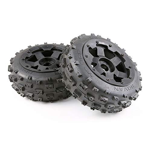 Huante Neumáticos y Juego de Bujes de Rueda para Piezas de Automóvil 1/5 Hpi Baja 5B RC - Frente 170X60