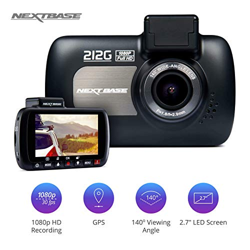 """Nextbase 212G Dash Cam - 1080P /30fps 2.7"""" LED Screen Car Recorder Night Vision Camera G-Sensor - Black- GPS Click and Go Mount Included Images, 140° Viewing Angle"""