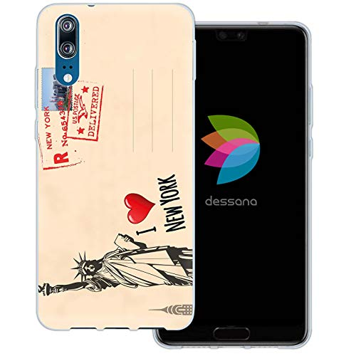 dessana postzegels transparante beschermhoes mobiele telefoon case cover tas voor Huawei, Huawei P20, Ansichtkaart New York
