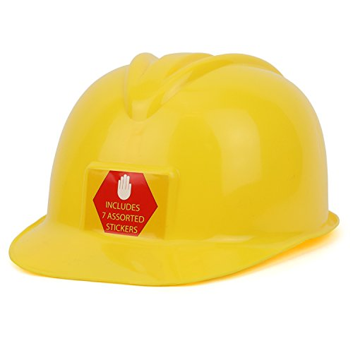 Trendy Apparel Shop Youth Size Construction Worker s Helmet with Assorted Stickers - YELLOW
