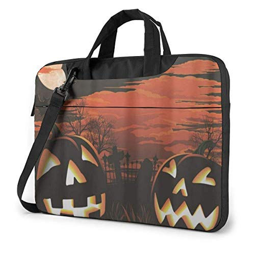 zhengdong Halloween Pumpkin Graveyard Bats Laptop Bag Case Sleeve Briefcase Computer Organizer for Women Men 14'