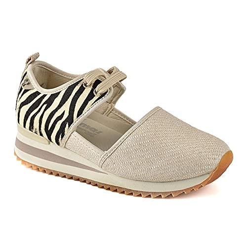 Zapatilla Sneaker Yumas Themis Beige Fabricado en Piel de Potro y Lona Plantilla Confort Látex para Mujer