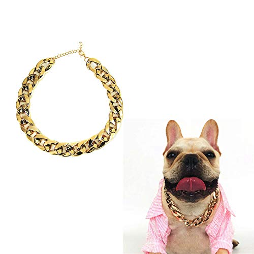 KRISMYA Gold Dog Collar,13.8 Inches Gold Link Chain Necklace for Dogs - Handmade Metal Tiny Bling for Small Dog or Puppy,Choke Cuban Dog Chain