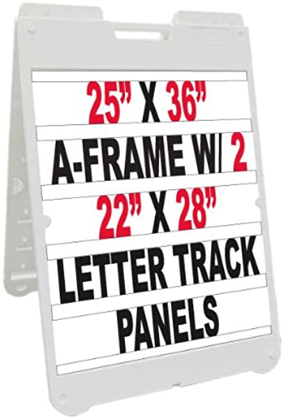 NEOPlex 25 X 36 Poly Plastic Sidewalk Sandwich Board A Frame Sign W Letter Track Insert Panels And Full Letter Kit