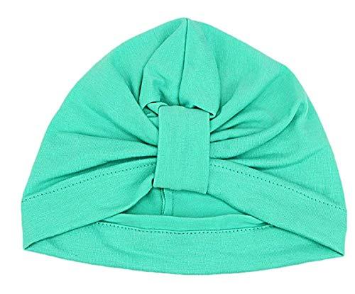 ZHWEI Chapeau d'automne d'hiver Nouveau-né Bébés Filles Mignon noueuse Doux Hôpital Coton Chapeau Bohème Chapeau Bonnet Cap Doux Et Chaud (Color : Light Green)