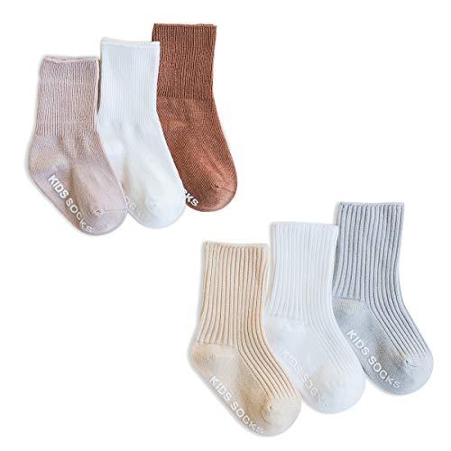 SONARIN 6 Pares Calcetines Antideslizantes para Niñas Niños,Color Liso,Calcetines de Algodón Antideslizante para niñas bebés,3-5 años