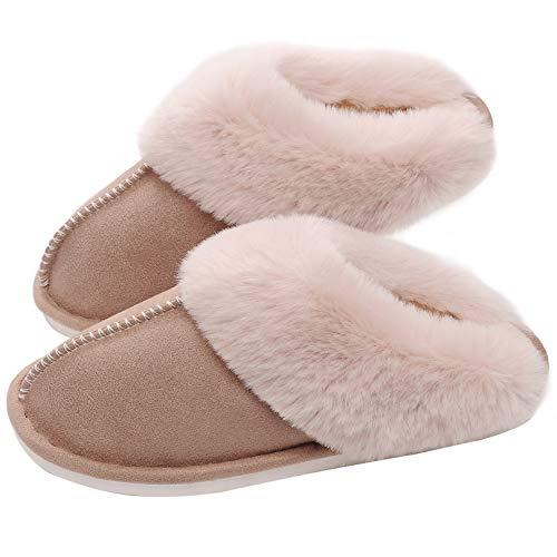 SOSUSHOE Womens Slippers Memory Foam Fluffy Fur Soft Slippers Warm House Shoes Indoor Outdoor Winter, Khaki, 8-9 B(M) US