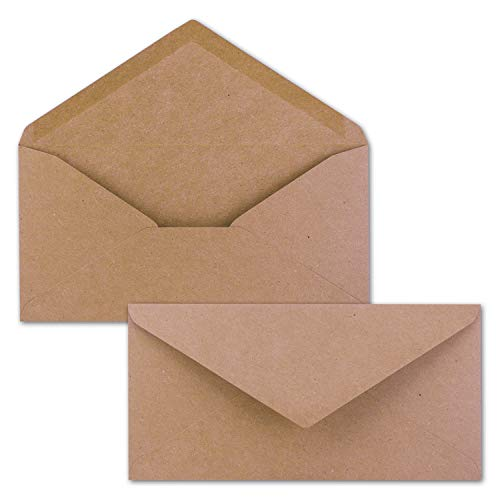 NEUSER PAPIER - Sobres de papel de estraza, 50 unidades, de color rosa, de papel reciclado, longitud DIN, 11 x 22 cm, adhesivo para humedecer, vintage