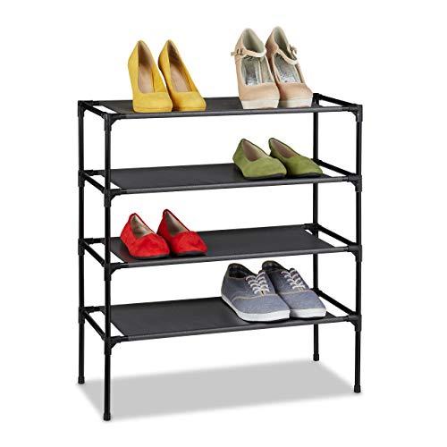 Relaxdays Zapatero de tela, 4 niveles, para 12 pares de zapatos, altura 68 x 62 x 28 cm, color negro