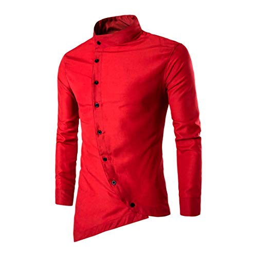 "Mens Slim Fit Shirt Irregular Long Sleeve Banded Collar Oblique Button Solid Top(Red ,Bust:36""/Tag:L)"