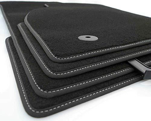kh Teile Fußmatten Passend für Amarok ab 2010 V8 Tuning Zubehör Offroad Highline Veloursteppich Premium Qualität, Ziernaht in Weiß
