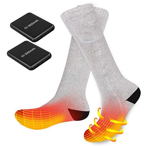 Elektrisch Beheizbare Socken für Männer Frauen Wiederaufladbare Batterie Heizsocken Winterthermosocke zum Reiten Skifahren Motorradfahren Angeln Wandern Schlafen (5V 5000mAh Power Bank)