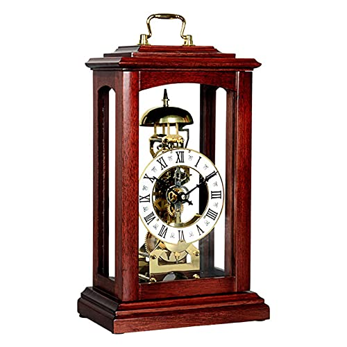 Tingting1992 Alarm Clock Table Clock Mechanical Desk Clock Chinese Style Living Room Antique Clock Retro European Style Study Ornaments Wooden Desk Clock (Color : B)