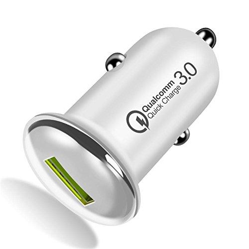 Waroomss - Adaptador de cargador de coche rápido QC3.0, adaptador de cargador de coche mini con puertos USB Simples QC, cable Micro USB/Tipo C para iPhone Xiaomi Samsung Huawei