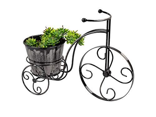 dekojohnson Bicicleta de flores para jardín, bicicleta de metal para plantar, bicicleta decorativa, triciclo en miniatura con soporte para plantas, decoración de jardín, 36 cm