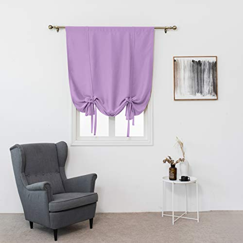 """JAIJY Solid Blackout Kitchen Curtain Tie up Adjustable Balloon Window Treatmet Roman Shades Tiebacks for Cafe Drapes, Rod Pocket Thermal Insulated Thick Kids Curtains, 32""""x55"""", Lilac Purple"""