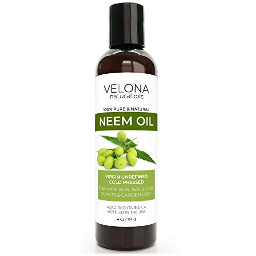 Neem Oil by Velona - 4 oz | 100% Pure and Natural Carrier Oil | Virgin, Unrefined, Cold Pressed | Hair, Body and Skin Care | Use Today - Enjoy Results