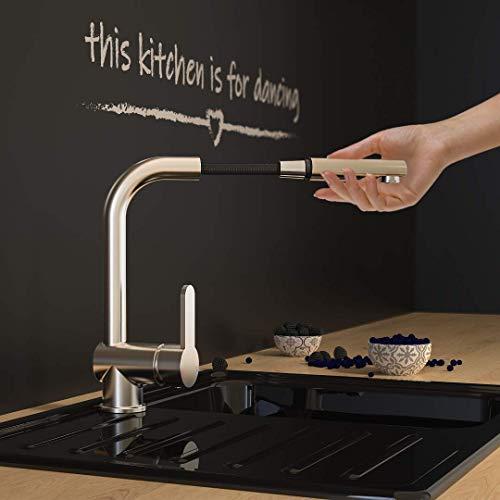 SCHÜTTE 79729 LONDON Niederdruck-Küchenarmatur in Edelstahl mit ausziehbarer Geschirrbrause, 360 Grad schwenkbarer Wasserhahn für die Küche, Mischbatterie mit Einhebelmischer, Spültischarmatur