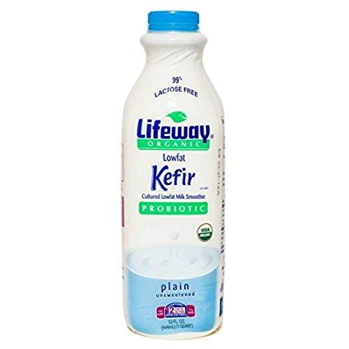 Lifeway Organic Lowfat Kefir, Plain, 32 Ounce (Pack of 06)