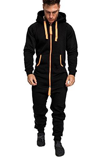 Amaci&Sons Herren Overall Jumpsuit Jogging Onesie Trainingsanzug Camouflage 3004 Schwarz/Orange S