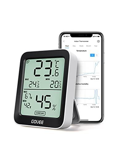 Govee 温湿度計 デジタル 温度 湿度 高精度 スマホで温湿度管理( ハブ不要)梅雨対策 熱中症対策 LCD大画面 最高最低温湿度 温湿度異常通知 快適度表示 グラフ記録 Bluetooth 室内 置掛兼用
