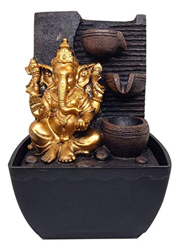 Ethnic Karigari Home Decor Polyresin Lord Ganesha Table Top Water Fountain Showpiece (18 cm X 14 13 cm, Multicolor)