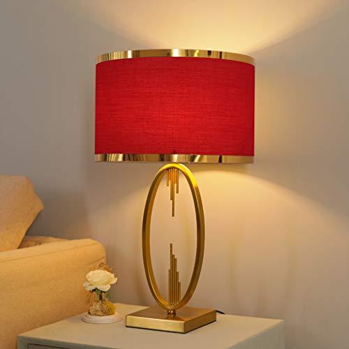 Lámpara de mesa Moderna Lámparas de mesa for sala de estar dormitorio Oro lámpara de escritorio con rojo de la tela de sombra, 23/27 '' Lámparas for mesita de noche Accent Lámpara de mesa de cristal