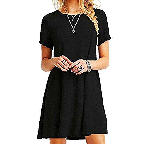 ZHANGNA Mujer Suelto Casual Vestido de la Camiseta (Negro, L