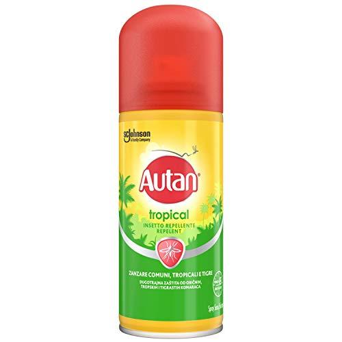 Autan - Tropical spray seco, repelente de mosquitos (comunes, tropicales y tigre) e insectos, 100 ml.