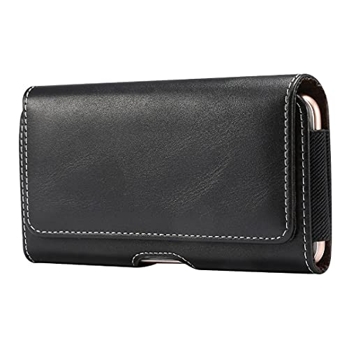 DFV mobile - Holster Horizontal Leather with Belt Loop para Huawei Ascend P7-L10 4G (Huawei Sophia) - Black