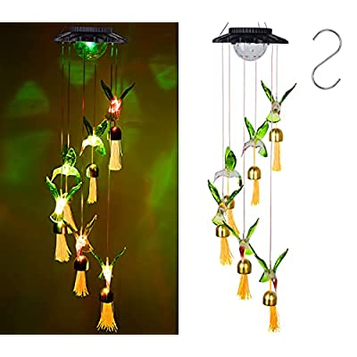 JSHKY Solar Hummingbird Wind Chimes with Bells, Waterproof Mobile Hanging Windchimes for Outside, Automatic Colors Changing LED Lights for Home, Party, Yard, Garden Decoration
