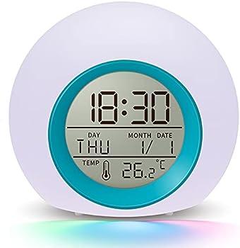 Umeisiyi 7 Color Nightlight Snooze Temperature Detect Alarm Clock