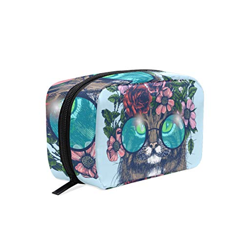 Cosmetic Bag with Zipper Flower Fashion Cat Clutch Travel Storage Bag Organizer Case for Women Makeup Pouch Bag