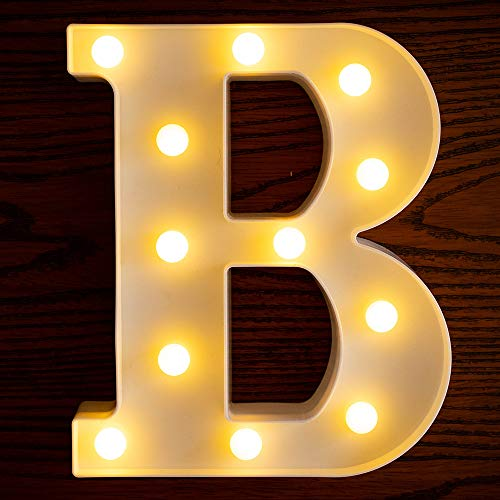 Yorulory LED Letter Lights Sign Letters Light Up Letters Sign for Night Light Wedding Birthday Party Battery Powered Christmas Lamp Home Bar (B)