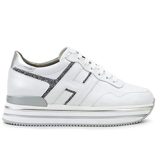 Hogan Sneaker Midi H222 Bianca e Grigia in Pelle - HXW4680CB80 OBM533L - Taglia 40