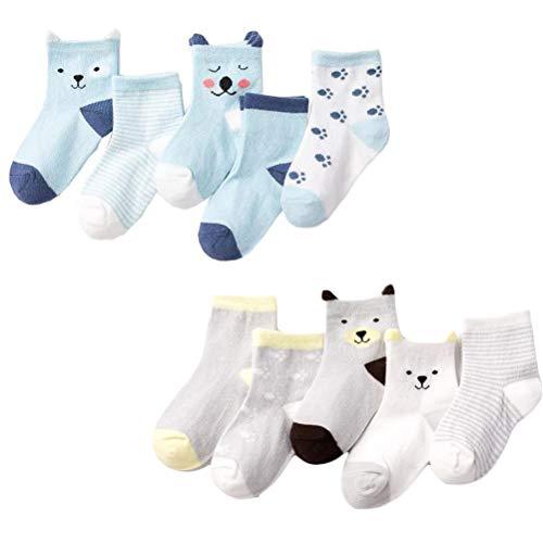 DEYOU Calcetines para bebé, 10 pares/juego, con estampado de dibujos animados, calcetines para bebés y niños