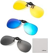 Litbun 3 PACK, Clip on Sunglasses Flip up Polarized Lens For Prescription Glasses, Over RX Eyeglasses UV Protection, Black, Blue, Yellow, Free
