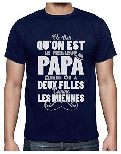 Green Turtle T-Shirts Meilleur Papa avec Deux Filles comme Les Miennes T-Shirt Homme Medium Marine