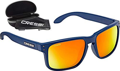 Cressi Blaze Sunglasses Gafas de Sol HTC polarizadas y repelentes al Agua, Adultos Unisex, Azul Navy/Espejadas Lentes Naranja, Talla única