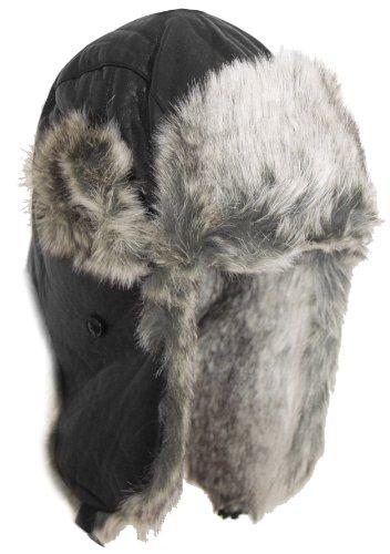 BRUBAKER Chapka de Cuir Artificiel Chapeau de Fourrure Noir Argent [Schwarz/Silber MP_087]