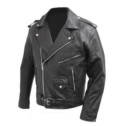 BS MOTO - Giacca chiodo da motociclista in vera pelle bovina, stile Marlon Brando (Nero, s)