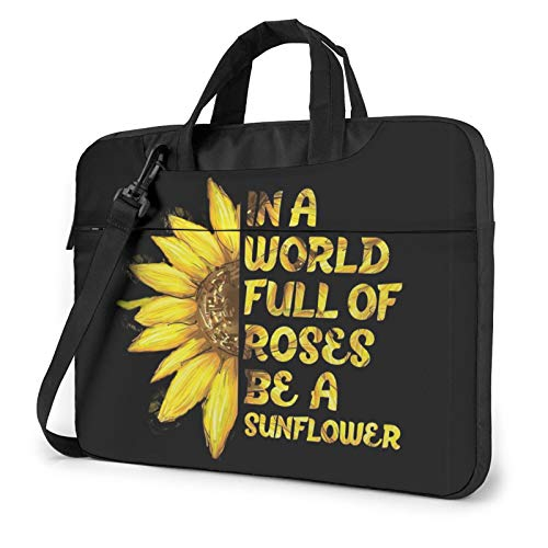 XIAONI Sunflower Quotes Laptop Shoulder Bag Compatible with 13-15.6 Inch MacBook Pro,MacBook Air,Notebook Computer,Removable Shoulder Strap Waterproof Carrying Briefcase Sleeve for Men Women