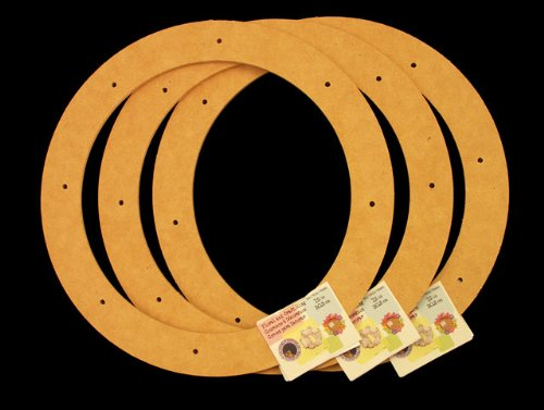 "3 Pack, 12"" Biodegradable Floral Craft Ring, Ez Glueable Wreath Form, for Photo Frame, Candle Ring, Etc"