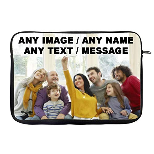 """Personalised with your own Text/Image/Any Name inspired Slim Fit Ideal Travel Bag To Keep Your Laptop Safe Compatible W 9'-10' / 13"""" / 14"""" / 15"""" Laptop Sleeve Unique Laptop Accessories. (13')"""