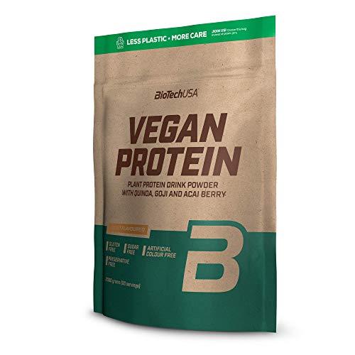 BioTechUSA Vegan Protein En polvo con sabor bebida a base de proteína vegetal, con bayas goji y acai en polvo, harina de quínoa, 2 kg, Maní