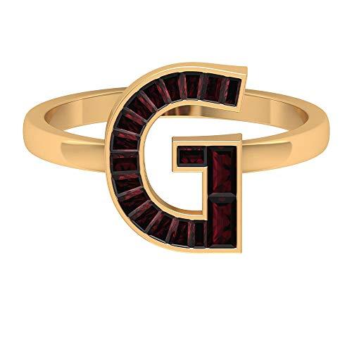 1.75 CT Granate Inicial G Anillo, Letra Anillos para Mujer (Calidad AAA), 14K Oro amarillo, Size:EU 68