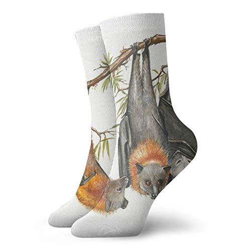 uytrgh Herren Damen Crew Dress Socken, Athletic Running Socks, Neuartige Kompressionssocken für Laufen, Reisen, Radfahren, Schwangere, Krankenschwester, Flight-Australian Grey-Headed Flying-Fox