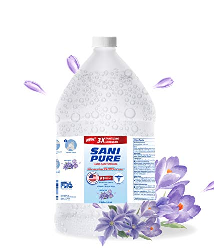 SANIPURE Hand Sanitizer GEL 1 Gallon (128 oz) 75% Alcohol | With Aloe & Vitamin E | Made in USA | Kills 99.9% of Germs