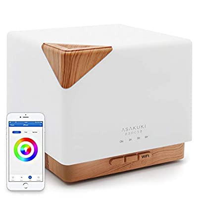 ASAKUKI Smart Wi-Fi 700ml Essential Oil Diffuser- App Control Compatible with Alexa, Aroma Humidifier for Relaxing Atmosphere in Bedroom and Office-Better Sleeping&Breathing
