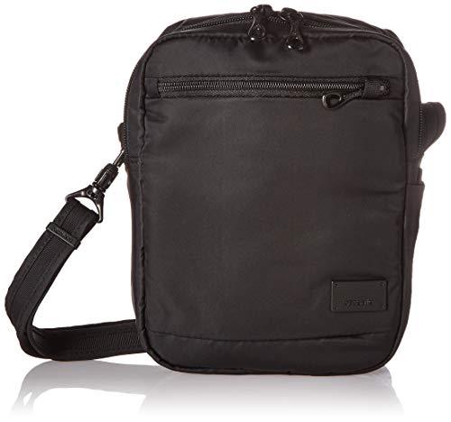 Pacsafe Citysafe CS75 Anti-Diebstahl Nylon kleine Umhängetasche für Damen, Schultertasche mit Diebstahlschutz, Sicherheits-Features - 2,5 L Uni, Black/Schwarz